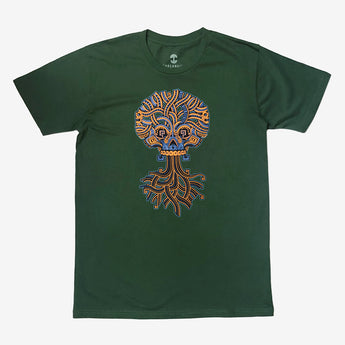T-Shirt - Ancient Roots Urban Aztec, Green Cotton