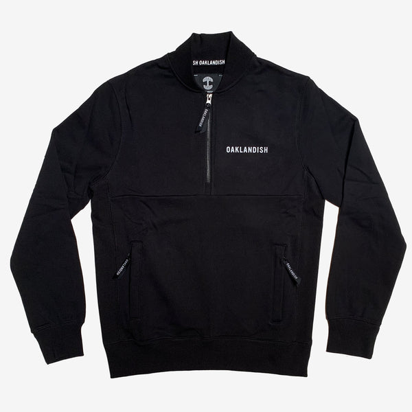 pullover sweater - half-zip - black - french terry cotton - Oaklandish