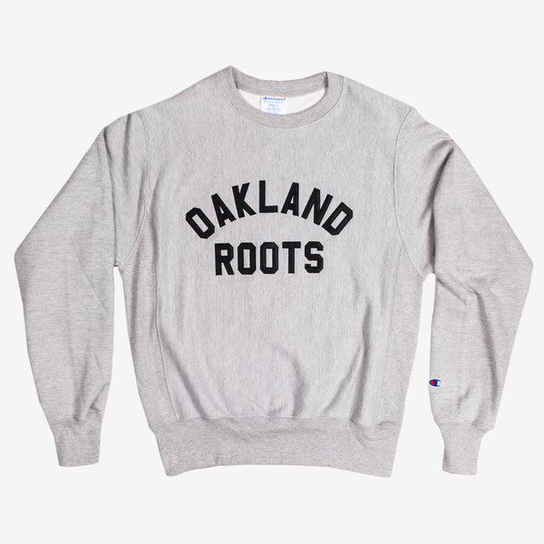 crew neck sweatshirt - champion - oakland roots - heather grey