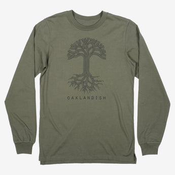 Oaklandish Classic Logo LS Tee - Black or Army Green Cotton