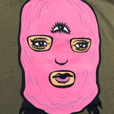 T-Shirt - Girl Mobb Ski Mask, 100% Cotton, Army Green