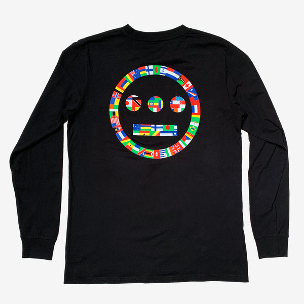 Long Sleeve T-Shirt - Hiero Worldwide Logo, Black Cotton