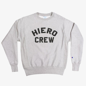 champion crew sweatshirt - hiero crew - heavyweight fleece - oxford grey