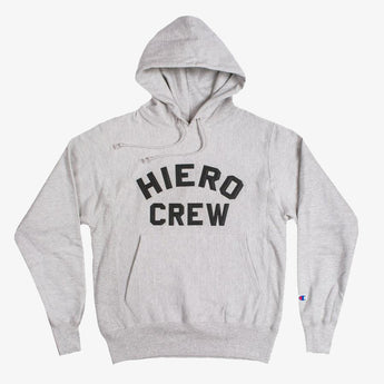 champion pullover hoodie - hiero crew - oxford grey