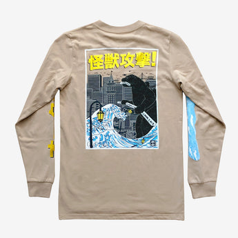 Kaiju Monster Attacking Oakland long sleeve T-Shirt - Tan Cotton Unisex -Oaklandish