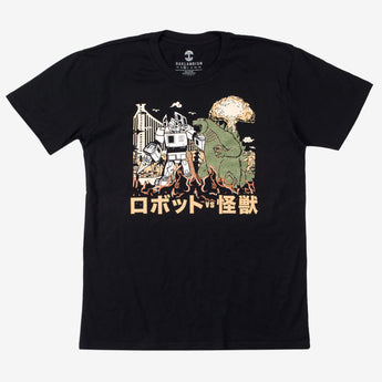 Kaiju Monster Attacking Oakland vs. Autobart T-Shirt - Black Cotton Unisex - Oaklandish