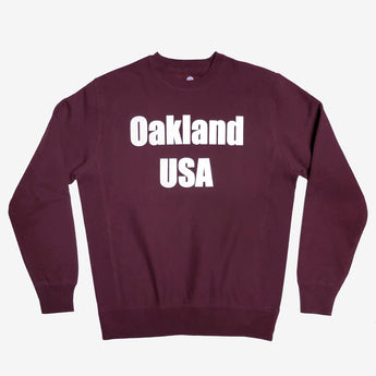 Oakland USA by DopeOnly Heavyweight Crew Sweatshirt - Maroon