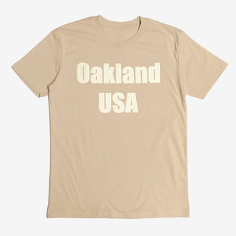 T- Shirt - Oakland USA by DopeOnly, Tan Cotton