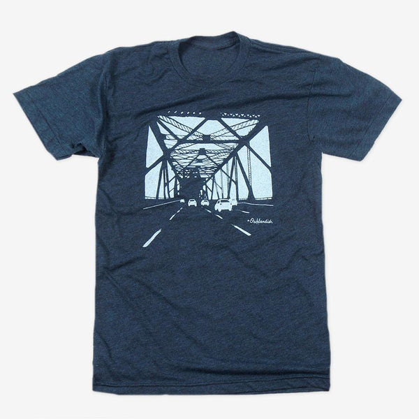 custom t-shirt-oakland bridge - black aqua - oaklandish