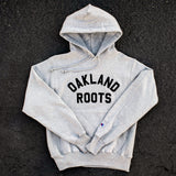 hoodie sweatshirt - champion - oakland roots - heather grey cotton fleece