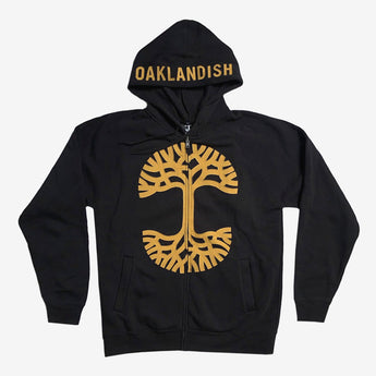 Tree Logo Zip Hoodie | Black & Mustard Ultra Soft
