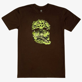 T-Shirt - Daytime Oakland Treehouse, Chocolate Brown Cotton