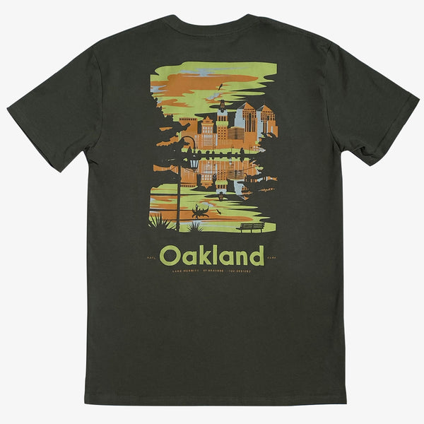 T-Shirt - Lake Merritt Oakland National, Army Green Cotton