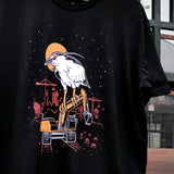 Night Herons vs Displacement Tee - Black Cotton