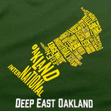 T-Shirt - Deep East Oakland Neighborhood, Forest Green Cotton