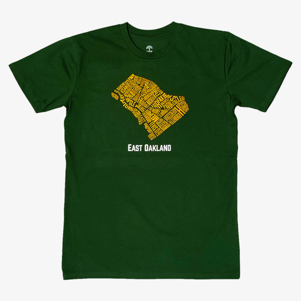 Neighborhood Tee - East Oakland, Forest Green Cotton