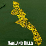 T-Shirt - Oakland Hills Neighborhood, Forest Green Cotton