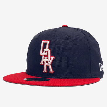 Cap  - New Era 59Fifty, Embroidered OAK logo, Navy & Red