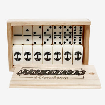 Oaklandish Tree Logo Domino Set - Ivory Pieces In Wood Box