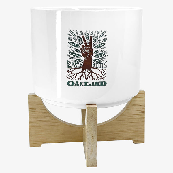 Oakland Ceramic Planter - Includes Bamboo Legs & Sunflower Seeds