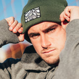 Cuffed Beanie - Roots SC Logo, Olive Woven Acrylic