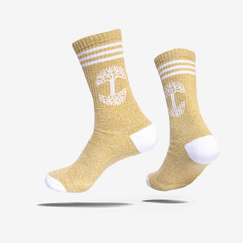 Retro Classic Oaklandish Logo Socks - Mustard Yellow & White
