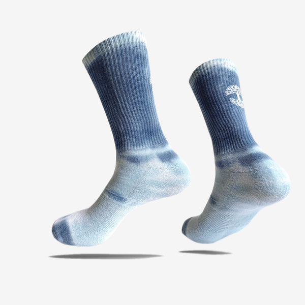 Men's Crew Socks - Oaklandish Logo, Dip Dyed Blue Sky Colors