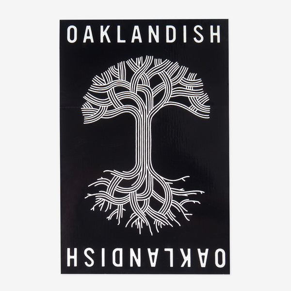 oaklandish roots logo sticker - black and white
