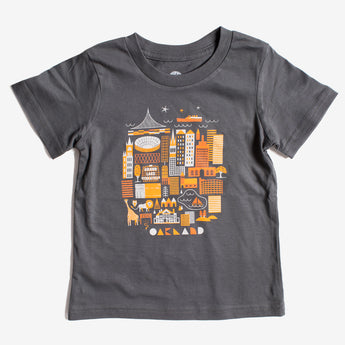 Toddler Oak Swirvington Tee in Charcoal | 100% Cotton