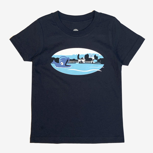 t-shirt-cotton-children-navy blue-willie the whale oakland fairyland theme park