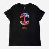 Women's Abstract Oakland Tee - Black Cotton