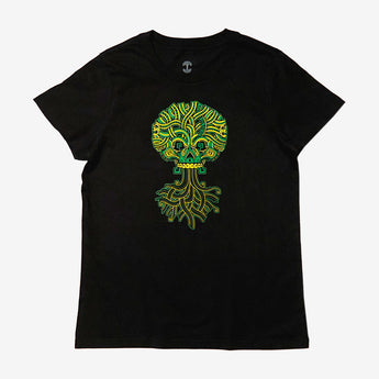Women's T-Shirt - Ancient Roots Urban Aztec, Black Cotton