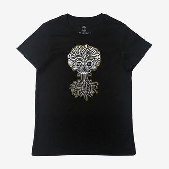 Ancient Roots Urban Aztec Tee | Black Cotton Silver Logo