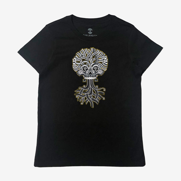 Ancient Roots Urban Aztec Tee - Black & Silver Cotton
