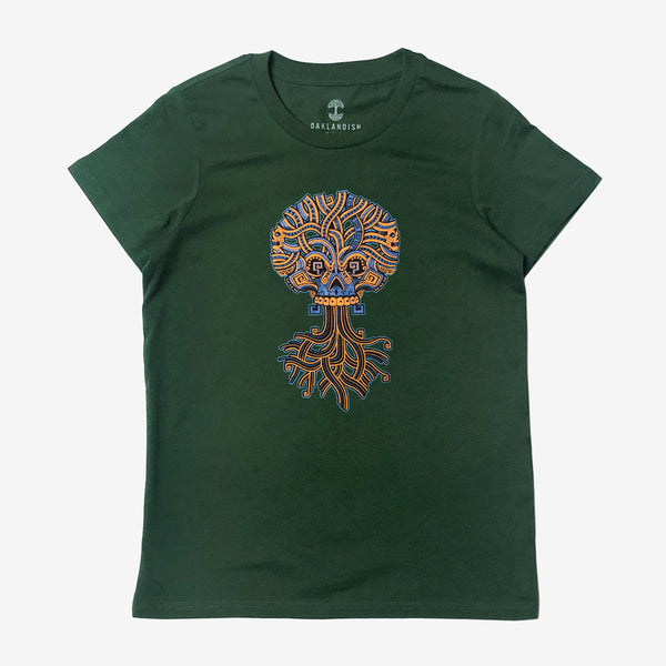 Women's Tee - Jesse Hernandez of Urban Aztec, Green Cotton