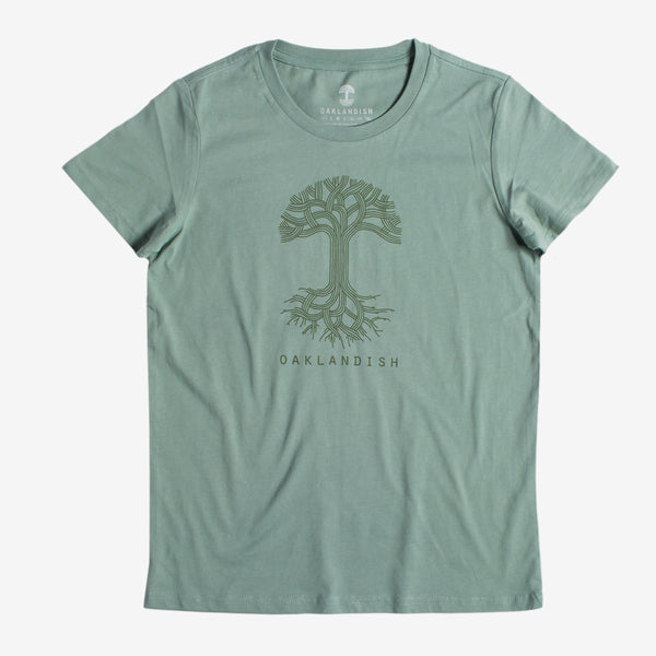 Women's T-Shirt - Oaklandish Classic Logo, Sage Cotton