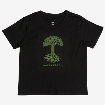 Women's T-Shirt - Oaklandish Classic Logo, Crew Neck, Black Cotton