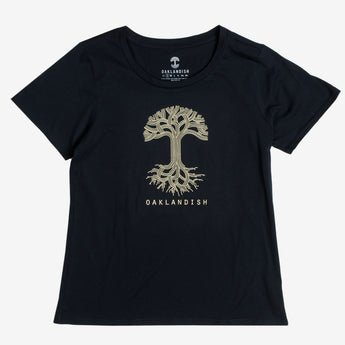 Women's T-Shirt - Oaklandish Classic Logo, Scoop Neck, Navy Cotton