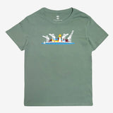 Happy Dragon Fairyland Women's Tee - Sage Green Cotton