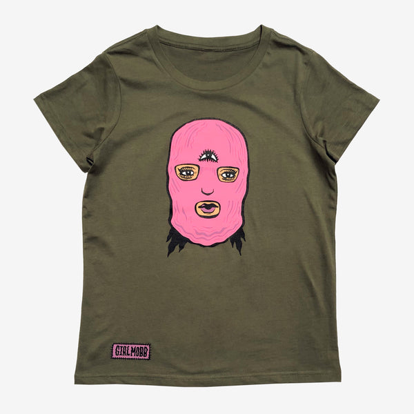 Women's Girl Mobb Ski Mask Tee - Army Green Cotton