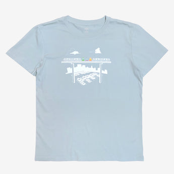t-shirt-cotton-womens fit-pale blue-jolly trolly oakland fairyland theme park