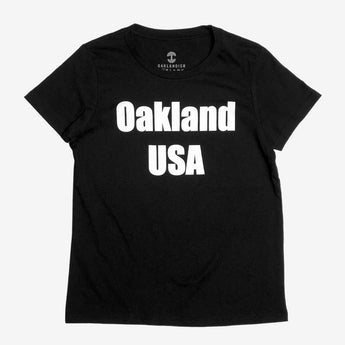 Women's T-Shirt - Oakland USA by DopeOnly, Black Cotton
