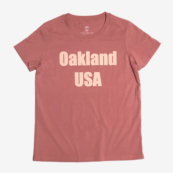 Women's T-Shirt - Oakland USA by DopeOnly, Coral Cotton