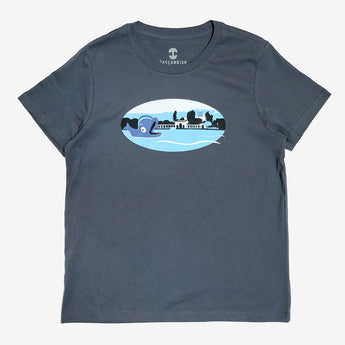 Women's T-Shirt - Willie the Whale Fairyland, Petrol Blue Cotton