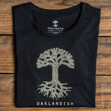 Women's Oaklandish Classic Logo Tee - Navy Cotton Scoop Neck
