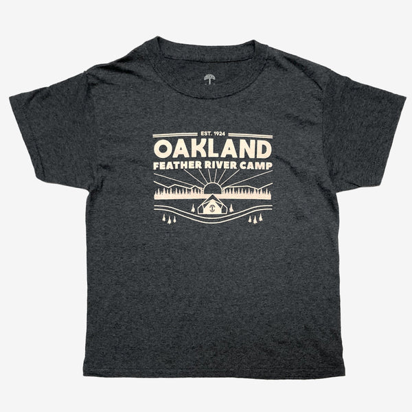 t-shirt-oakland feather river camp-oaklandish-dark heather- 50% cotton 50% poly-youth