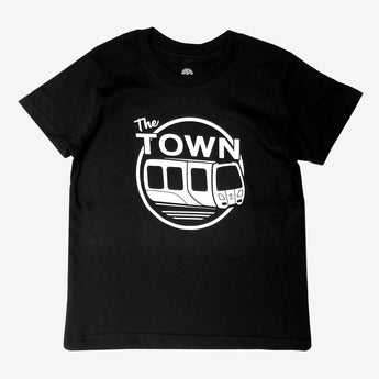 Youth Black Cotton Tee | Oaklandish BART & The Town