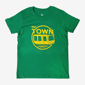 Youth T-Shirt - Oaklandish BART & The Town, Kelly Green Cotton