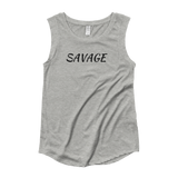 """Savage"" White or Gray Cap Sleeve T-Shirt"