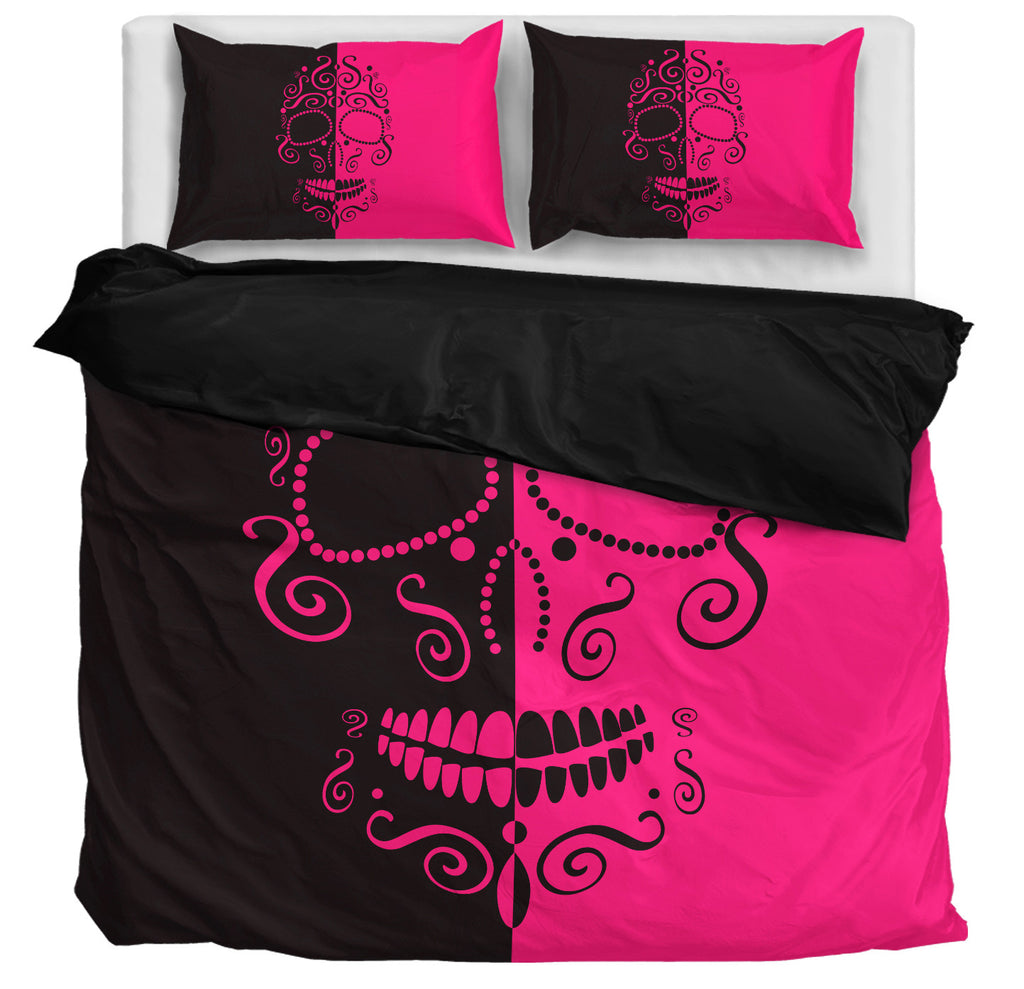 Pink & Black Skull Bedding Set